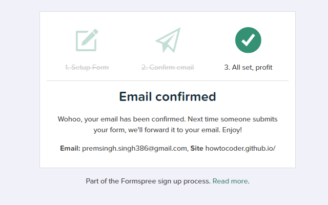 Formspree email confirmed